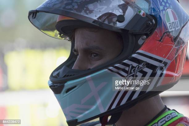 Alex Fabri of Italy and Minimoto Portomaggiore looks on in pit during the MotoGP of San Marino Free Practice at Misano World Circuit on September 8...