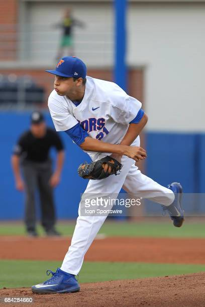Alex Faedo of the Gators delivers a pitch to the plate during the college baseball game between the Ole Miss Rebels and the Florida Gators on May 05...