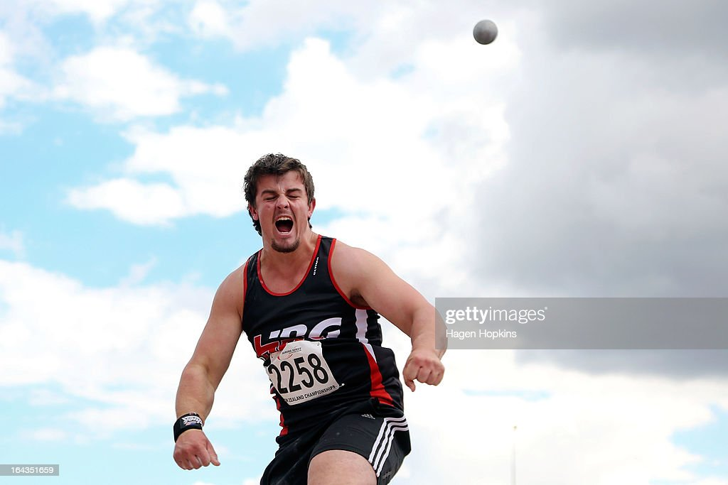 Alex Faefita of Hawkes Bay/Gisbourne competes in the under-20 men's shot put final during the New Zealand Track and Field Championships at Mt Smart Stadium on March 23, 2013 in Auckland, New Zealand.