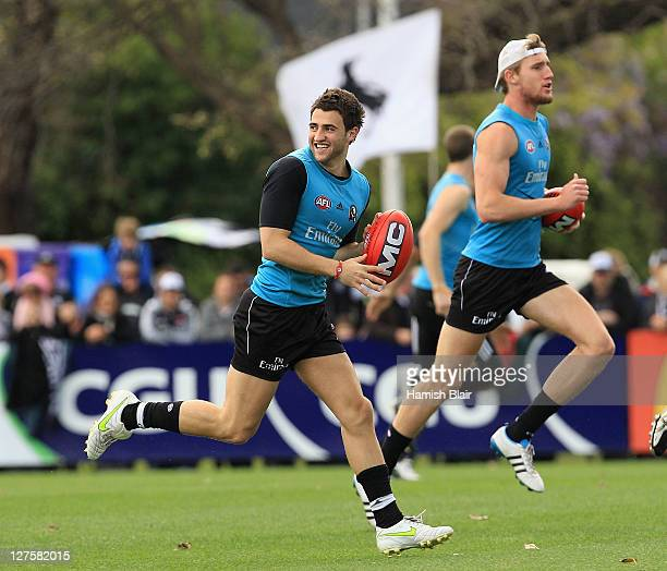 Alex Fasolo in action during a Collingwood Magpies AFL training session at Gosch's Paddock on September 30 2011 in Melbourne Australia