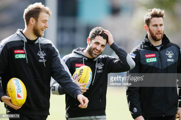 Alex Fasolo of the Magpies reacts during a Collingwood Magpies AFL media opportunity at the Holden Centre on July 25 2017 in Melbourne Australia