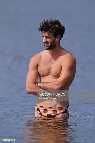Alex Fasolo participates in a recovery session after the finish of the triathlon during a Collingwood Magpies AFL Fitness Camp on November 14 2014 in...