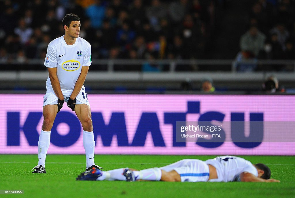 Alex Feneridis of Auckland looks dejected during the FIFA Club World Cup match between Sanfrecce Hiroshima and Auckland City at International Stadium Yokohama on December 6, 2012 in Yokohama, Japan.