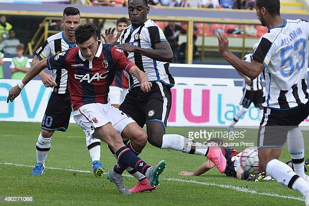 Alex Ferrari of Bologna FC in action during the Serie A match between Bologna FC and Udinese Calcio at Stadio Renato Dall'Ara on September 27 2015 in...