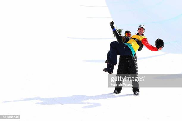 Alex Ferreira of USA celebrates after winning the Winter Games NZ FIS Men's Freestyle Skiing World Cup Halfpipe Finals at Cardrona Alpine Resort on...