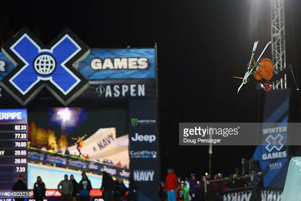 Alex Ferreira soars above the pipe as he finished third in the men's Ski Superpipe final during Winter XGames 2014 Aspen at Buttermilk Mountain on...