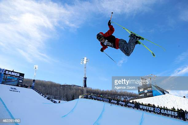 Alex Ferreira takes 3rd place during the Winter X Games Men's Ski Superpipe on January 25 2015 in Aspen USA