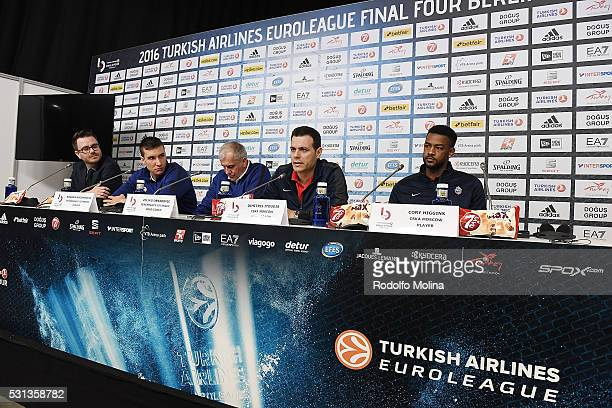 Alex Ferrer Euroleague Basketball Marketing and Communications Director Bogdan Bogdanovic #13 of Fenerbahce Istanbul Zeljko Obradovic Head Coach...