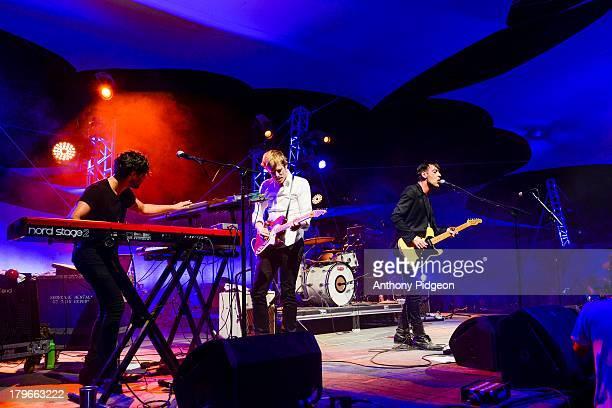 Alex Fischel Dan Boeckner Britt Daniel of Divine Fits perform on the Mountain View Stage at Pickathon Festival Happy Valley Oregon USA on 4th August...