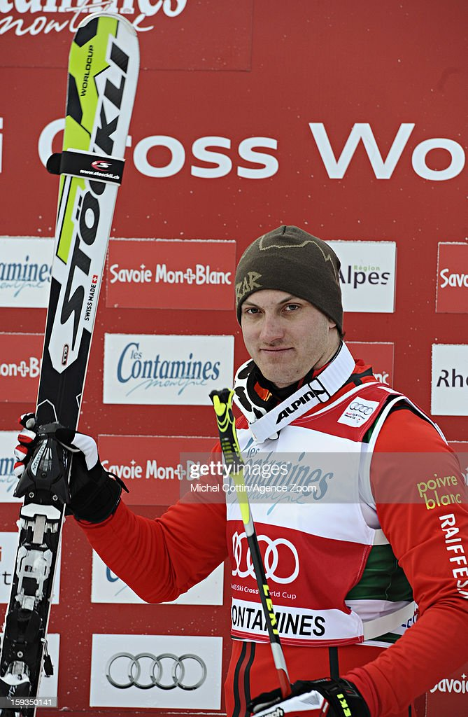 Alex Fiva of Switzerland takes 1st place during the FIS Freestyle Ski World Cup Men's and Women's Ski Cross on January 12, 2013 in Les Contamines, France.