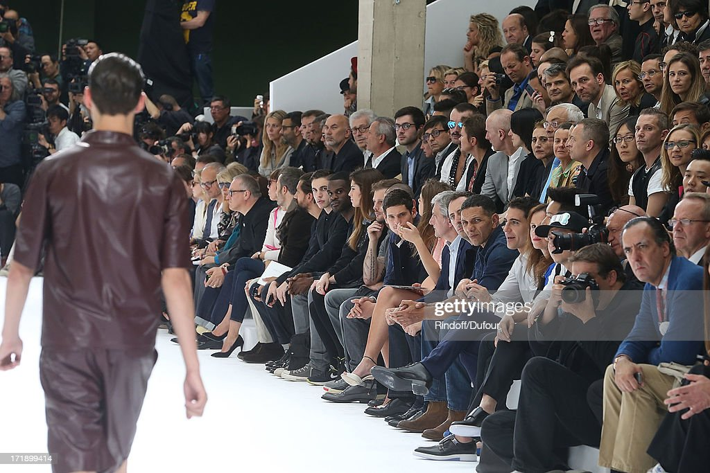 Alex Fleming aka Black Atlass, Laura Isaaz, Nicolas Duvauchelle, Jeremie Laheurte, Adele Exarchopoulos, Sidney Toledano, Gad Elmaleh and Roschdy Zem attend Dior Homme Menswear Spring/Summer 2014 show as part of Paris Fashion Week on June 29, 2013 in Paris, France.