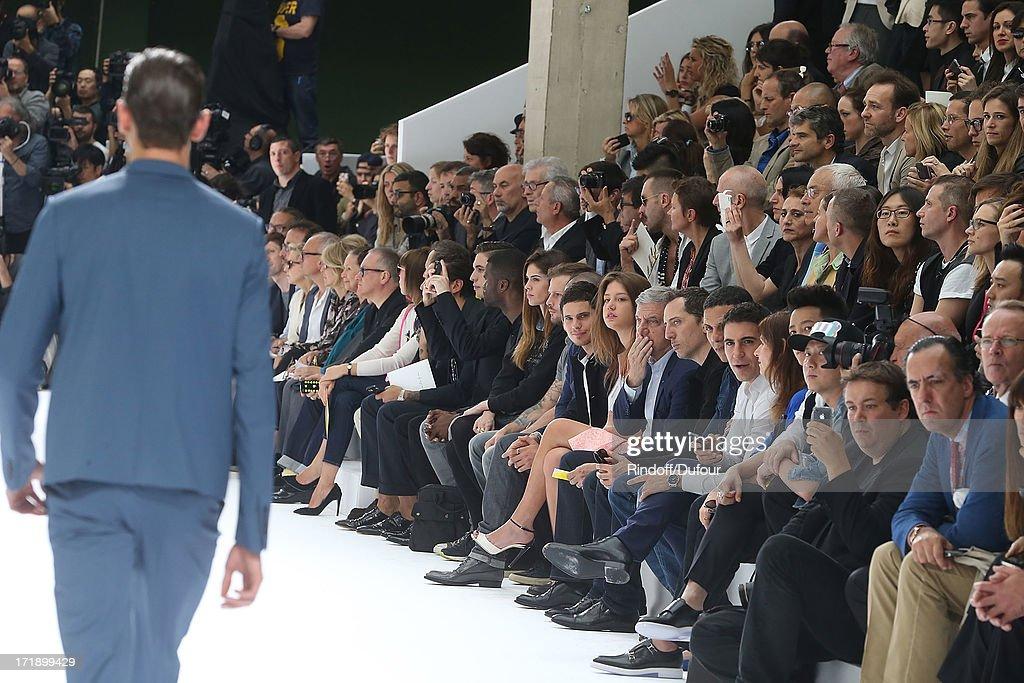 Alex Fleming aka Black Atlass, Laura Isaaz, Nicolas Duvauchelle, Jeremie Laheurte, Adele Exarchopoulos, Sidney Toledano, Gad Elmaleh and Roschdy Zem attend Dior Homme Menswear Spring/Summer 2014 show as part of Paris Fashion Week on June 29, 2013 in Paris, France.