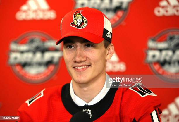 Alex Formenton is interviewed after being selected 47th overall by the Ottawa Senators during the 2017 NHL Draft at the United Center on June 24 2017...