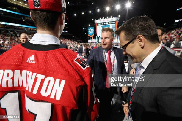 Alex Formenton meets Daniel Alfredsson and head coach Guy Boucher after being selected 47th overall by the Ottawa Senators during the 2017 NHL Draft...