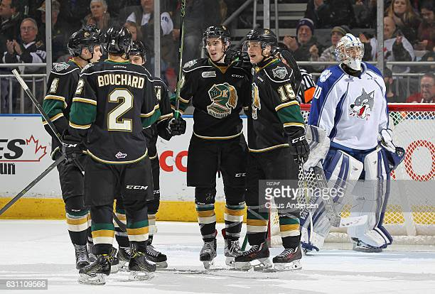 Alex Formenton of the London Knights celebrates a goal against the Sudbury Wolves during an OHL game at Budweiser Gardens on January 6 2017 in London...