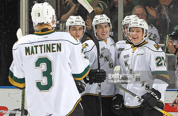 Alex Formenton of the London Knights celebrates his goal against the Guelph Storm during an OHL game at Budweiser Gardens on December 16 2016 in...