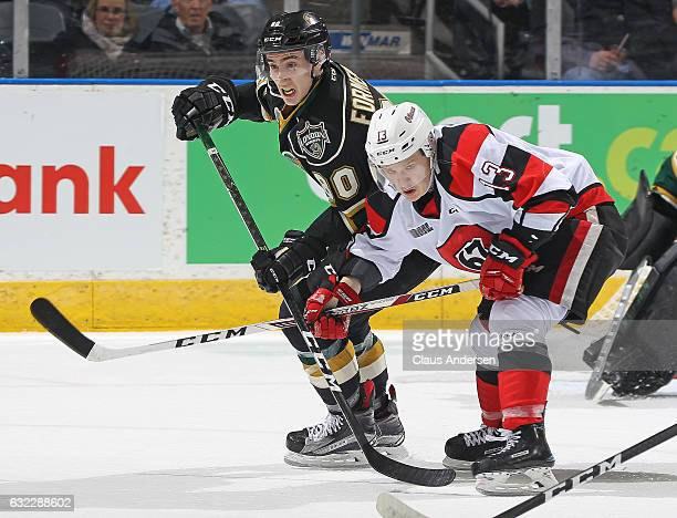 Alex Formenton of the London Knights skates against Artur Tyanulin of the Ottawa 67's during an OHL game at Budweiser Gardens on January 20 2017 in...