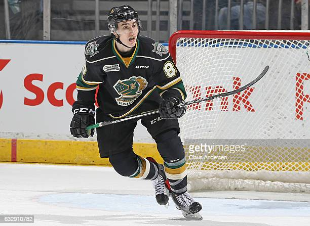 Alex Formenton of the London Knights skates against the Erie Otters during an OHL game at Budweiser Gardens on January 27 2017 in London Ontario...