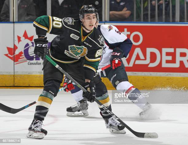 Alex Formenton of the London Knights skates against the Windsor Spitfires during Game One of the OHL Western Conference Quarter Finals at Budweiser...