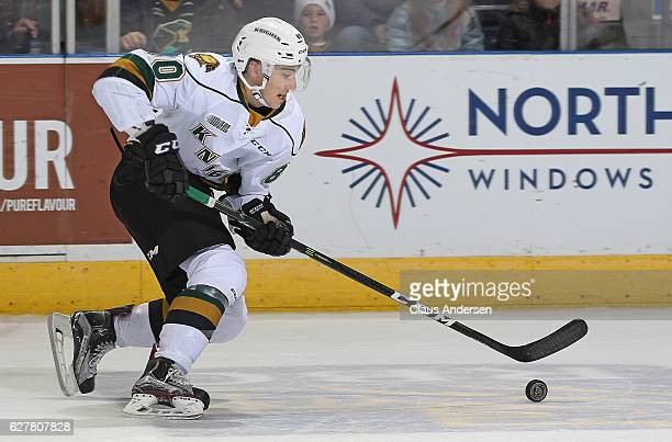 Alex Formenton of the LOndon Knights skates with the puck against the Flint Firebirds during an OHL game at Budweiser Gardens on December 4 2016 in...