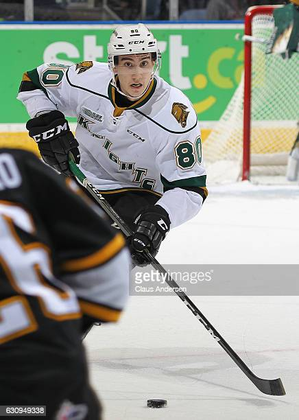 Alex Formenton of the London Knights skates with the puck against the Sarnia Sting during an OHL game at Budweiser Gardens on December 30 2016 in...