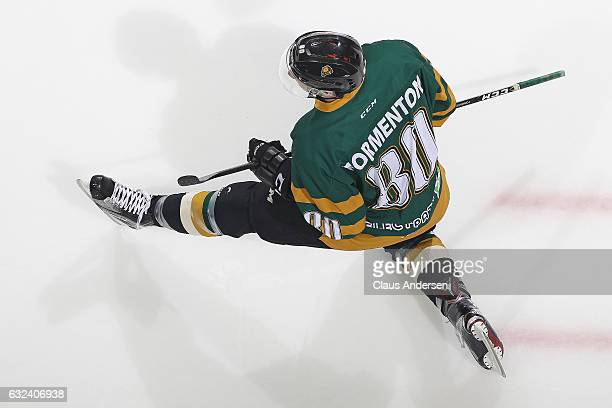 Alex Formenton of the London Knights stretches during the warmup prior to play against the Niagara IceDogs in an OHL game at Budweiser Gardens on...