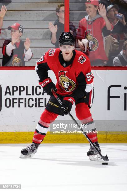 Alex Formenton of the Ottawa Senators skates during warmups prior to a game against the Detroit Red Wings at Canadian Tire Centre on October 7 2017...
