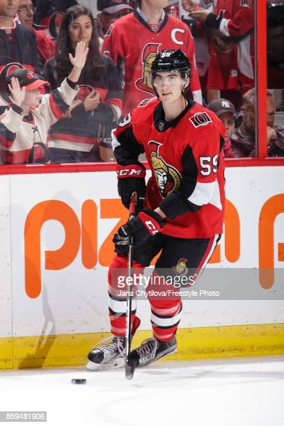Alex Formenton of the Ottawa Senators skates with the puck during warmups prior to a game against the Detroit Red Wings at Canadian Tire Centre on...
