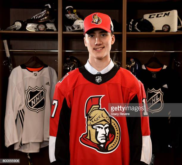 Alex Formenton poses for a portrait after being selected 47th overall by the Ottawa Senators during the 2017 NHL Draft at the United Center on June...