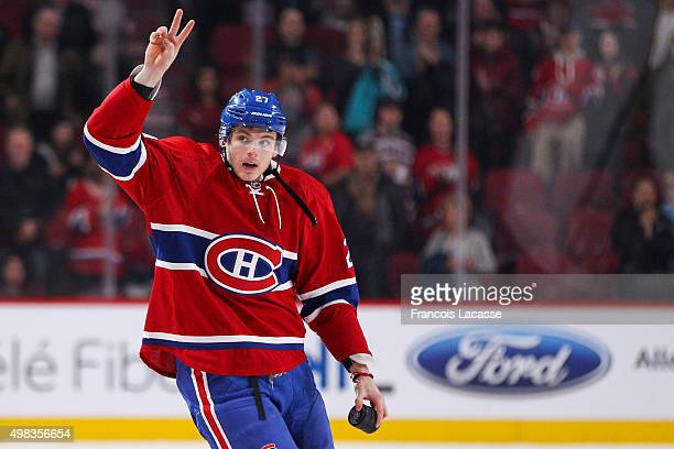 Alex Galchenyuk of the Montreal Canadiens acknowledges the crowd in the NHL game against the New York Islanders at the Bell Centre on November 22...