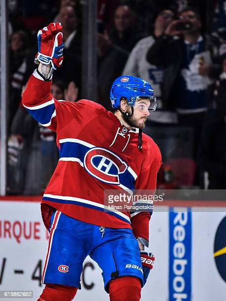 Alex Galchenyuk of the Montreal Canadiens acknowledges the fans during the NHL game against the Toronto Maple Leafs at the Bell Centre on October 29...