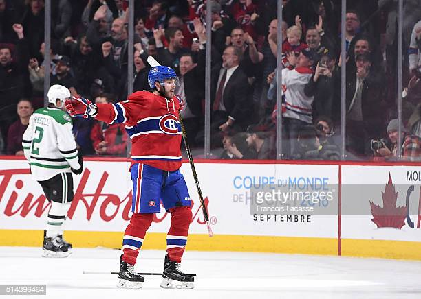 Alex Galchenyuk of the Montreal Canadiens celebrates after scoring a goal against the Dallas Stars in the NHL game at the Bell Centre on March 8 2016...