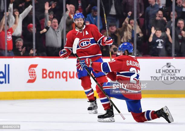 Alex Galchenyuk of the Montreal Canadiens celebrates after scoring a goal against the Columbus Blue Jackets in the NHL game at the Bell Centre on...
