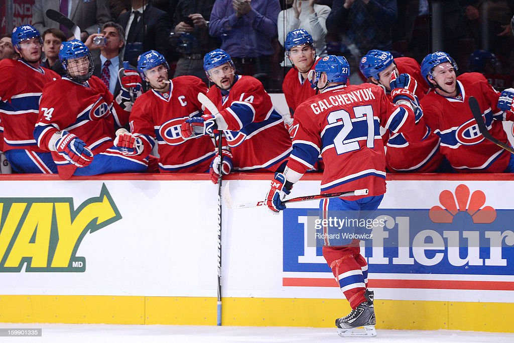 <a gi-track='captionPersonalityLinkClicked' href=/galleries/search?phrase=Alex+Galchenyuk&family=editorial&specificpeople=7419137 ng-click='$event.stopPropagation()'>Alex Galchenyuk</a> #27 of the Montreal Canadiens celebrates his first career NHL goal during the game against the Florida Panthers at the Bell Centre on January 22, 2013 in Montreal, Quebec, Canada. The Canadiens defeated the Panthers 4-1.