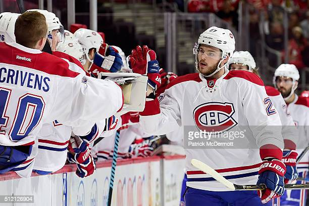 Alex Galchenyuk of the Montreal Canadiens celebrates his first period goal with his teammates during their game against the Washington Capitals at...