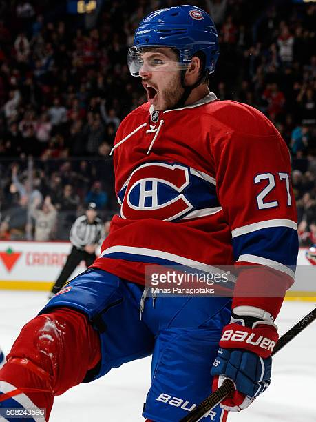 Alex Galchenyuk of the Montreal Canadiens celebrates his goal during the NHL game against the Buffalo Sabres at the Bell Centre on February 3 2016 in...