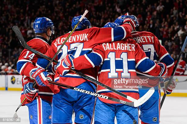 Alex Galchenyuk of the Montreal Canadiens celebrates his goal with teammates during the NHL game against the Florida Panthers at the Bell Centre on...