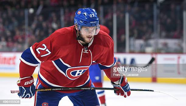 Alex Galchenyuk of the Montreal Canadiens during the NHL game against the New York Islanders at the Bell Centre on November 5 2015 in Montreal Quebec...