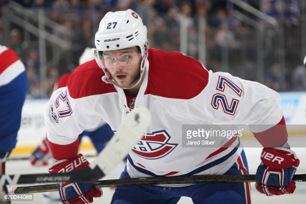 Alex Galchenyuk of the Montreal Canadiens looks on during a face off against the New York Rangers in Game Three of the Eastern Conference First Round...