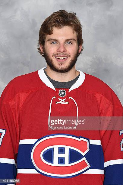 Alex Galchenyuk of the Montreal Canadiens poses for his official headshot for the 20152016 season on September 17 2015 at the Bell Sports Complex in...