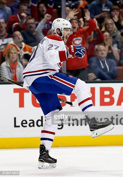 Alex Galchenyuk of the Montreal Canadiens reacts to scoring a goal during the second period of a game against the Anaheim Ducks at Honda Center on...