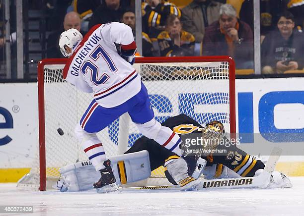 Alex Galchenyuk of the Montreal Canadiens scores the gamewinning goal in a shootout past Tuukka Rask of the Boston Bruins during the game at TD...