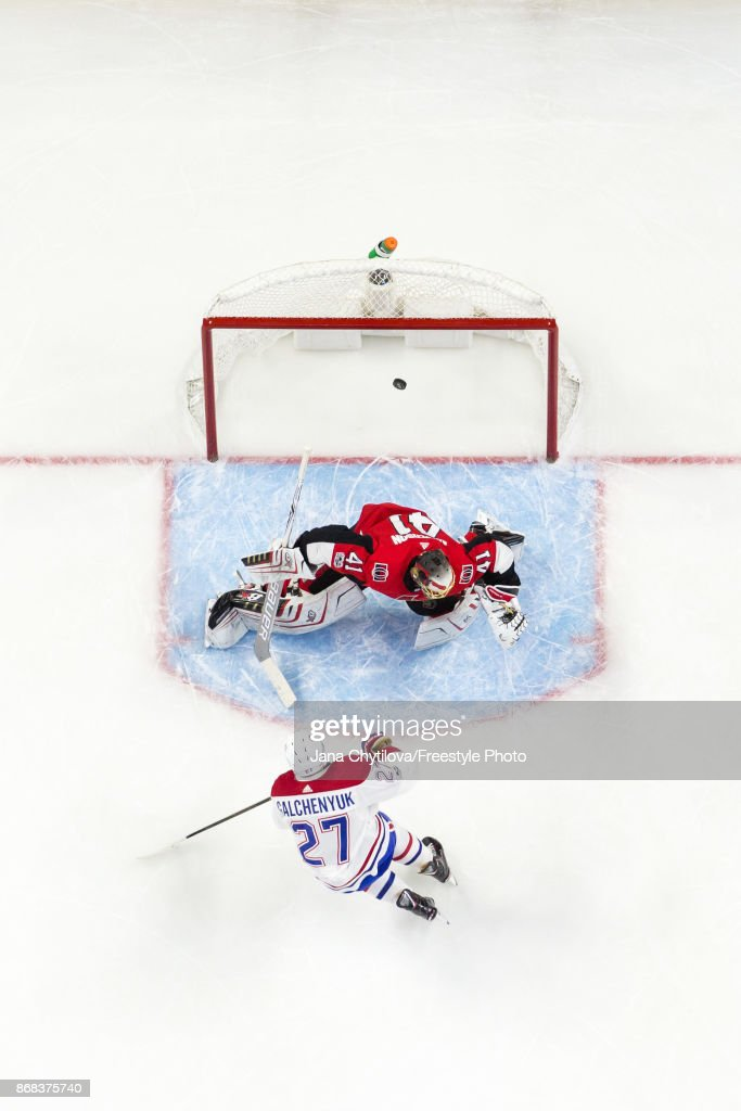 Alex Galchenyuk #27 of the Montreal Canadiens shoots the puck past Craig Anderson #41 of the Ottawa Senators in the second period at Canadian Tire Centre on October 30, 2017 in Ottawa, Ontario, Canada.