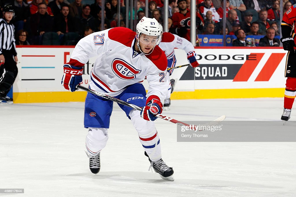 Alex Galchenyuk #27 of the Montreal Canadiens skates against the Calgary Flames at Scotiabank Saddledome on October 28, 2014 in Calgary, Alberta, Canada. Tampa Bay won 2-1.