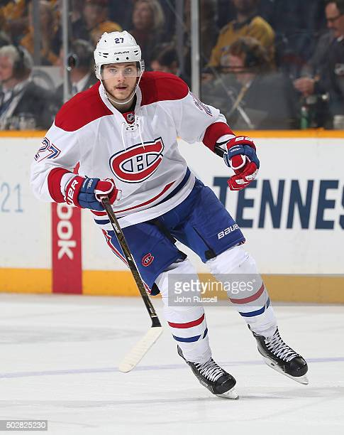Alex Galchenyuk of the Montreal Canadiens skates against the Nashville Predators during an NHL game at Bridgestone Arena on December 21 2015 in...