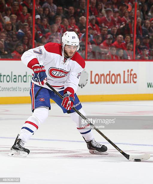 Alex Galchenyuk of the Montreal Canadiens skates against the Ottawa Senators at Canadian Tire Centre on October 11 2015 in Ottawa Ontario Canada
