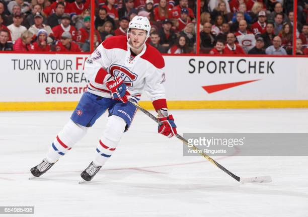 Alex Galchenyuk of the Montreal Canadiens skates against the Ottawa Senators at Canadian Tire Centre on March 18 2017 in Ottawa Ontario Canada