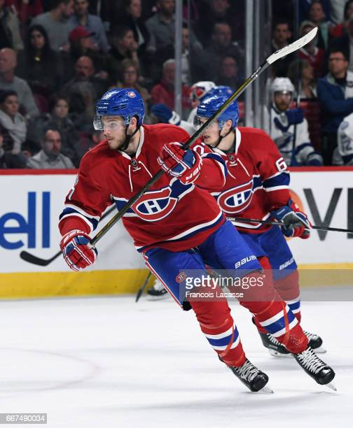 Alex Galchenyuk of the Montreal Canadiens skates against the Tampa Bay Lightning in the NHL game at the Bell Centre on April 7 2017 in Montreal...