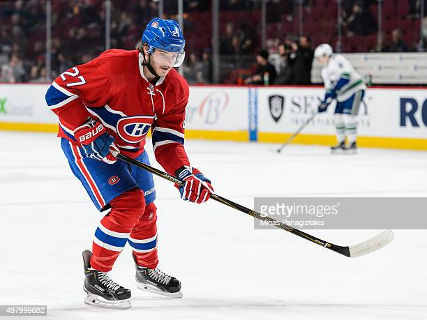 Alex Galchenyuk of the Montreal Canadiens skates during the warmup period prior to the NHL game against the Vancouver Canucks at the Bell Centre on...