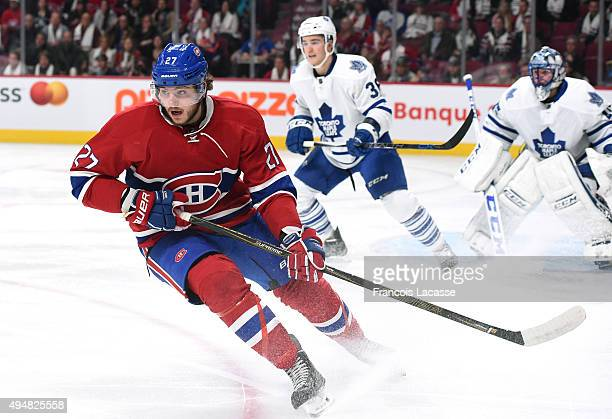 Alex Galchenyuk of the Montreal Canadiens skates for position against the Toronto Maple Leafs in the NHL game at the Bell Centre on October 24 2015...